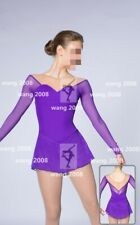 Ice Figure Skating Dress Custom Competition Dress purple un-beaded handmade