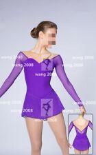Ice Figure Skating Dress Custom Competition Dress purple un-beaded handmade