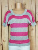 LEI Women Jr Size Medium Short Sleeve Shirt Striped Cotton/Acrylic/Poly Knit Top