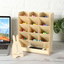 Desktop Pen Pencil Wood Desk Box Storage Holder Shelf Container Office Organizer