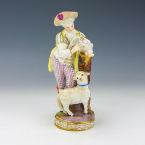 Antique Meissen Dresden Porcelain - Man With Sheep & Bird - Damaged But Lovely!