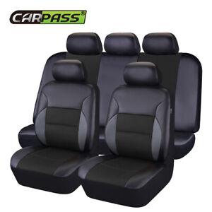 Universal Car Seat Covers Black Leather Mesh Airbag Breathable For SUV Sedan VAN