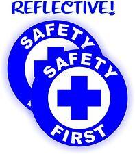 Pair - REFLECTIVE Safety First Hard Hat Decals | Construction Helmet Stickers