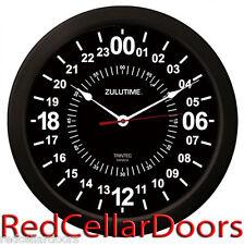 "Trintec 14"" BLACK Military Time 24 Hour Wall Clock ZULU Time Ham Radio New"