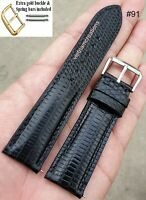 18mm 20mm 22mm Black Genuine Lizard Skin Leather Watch Strap Band Handmade #91