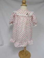 Vintage 70s Dress Baby Neon Pink Roses Mod Ruffles Eyelet Trim Doll 12 M Boho