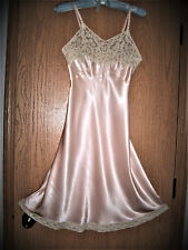Vtg 1930s Heavenly Lingerie by Fischer Shiny Pink Rayon Liquid Satin Ecru Lace
