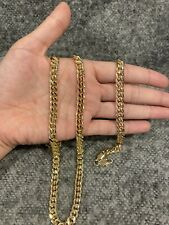 "YELLOW GOLD PLATED Curb Cuban Link Chain Necklace 24"" & Bracelet 8"" SET"