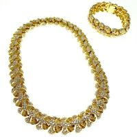 Ciner Vintage Necklace and Bracelet Set Goldtone Rhinestones Matching Signed