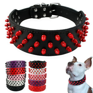 Soft Leather Dog Collar with Mushrooms Rivet Studded Adjustable Buckle 3 Rows