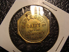 Uncirculated Payne OH Maple Grove Dairy Good For 1 Quart of Milk Trade Token
