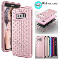 Armor Bling Rhinestone Diamond Hybrid Shockproof Case For Samsung Note 8 9 S9 S8
