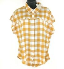 NEW Lucky Brand Womens Size Medium Yellow Plaid Gingham Henley Button Shirt NWT