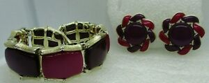 VTG Signed Lisner Purple Thermoset Lucite Bracelet & Earrings SET