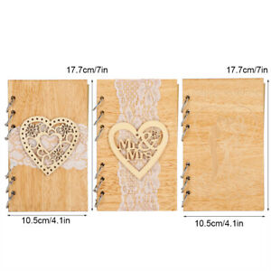 Wooden Guest Book Memorable Signature Message Notebooks Gift For Wedding Party