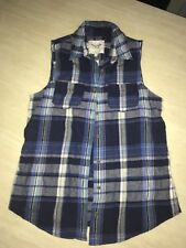 Abercrombie and Fitch Womens Size Medium Plaid Sleeveless Shirt/Vest Blue Tan