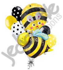 7 pc Cute Bumblebee Balloon Bouquet Honey Bee Birthday Buzz Happy Bug Yellow