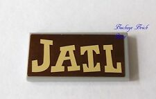 LEGO Light  Bluish Gray Tile 2 x 4 with Wood Colored Sticker saying Jail