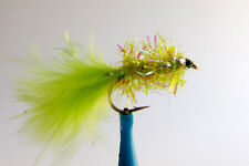 10 x Mouche de peche Streamer Blob Chartreuse H8/10/12 mosca fly tying truite