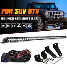 """Single Row 50"""" Led Light Bar Spot Flood Driving Fog Lamp For Jeep Wrangler 52"""""""
