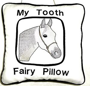 Tooth Fairy Pillow with Horse Head embroidered on White Cotton H119 New Handmade