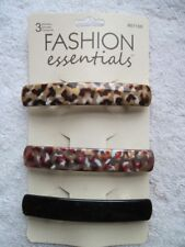 3 Fashion Essentials Hair Barrettes Black Geometric Pattern Neutral Colors Plain