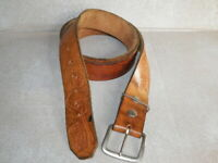 "Mens Vtg Brown Tooled Leather Cowboy ""CARL"" Country Music Guitar Banjo Belt 46"