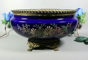 Antique French Faience Blue Enameled Planter Jardiniere Centerpiece Bronze Mount