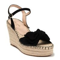 KATE SPADE 6 Wedges Sandals Espadrilles Bow Suede Black Heels Shoes Fanni NWOT
