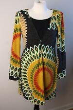 65ebbfd3db4 Aryeh M Multi-Color Geometric Print Knit Sweater Dress Zip Detail