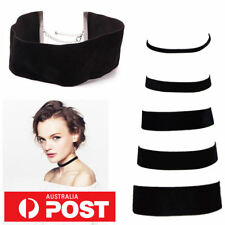 7 SIZES Classic Thin Thick Black Velvet Choker Goth Lolita Wrap Suede Chain