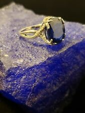 Natural Royal Blue Celon Sapphire, 5.52ct Oval, Diamonds in 14K White Gold Halo