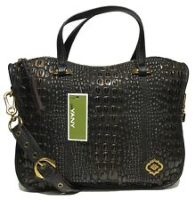NWT orYANY Woman's Leather Satchel, Embossed Black/Chocolate MSRP: $489.00