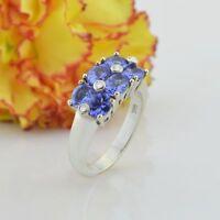 14k White Gold Estate 6/Six Stone Tanzanite & Diamond Ring Size 6.75