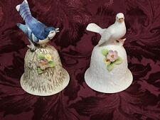 2 Towle Fine Bone China Decorative Bells Dove & Flowers & Blue Jay & Flowers