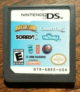 Battleship/Connect Four/Sorry/Trouble (Nintendo DS) VG Shape & Tested Authentic