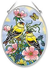 """AMIA STAINED GLASS SUNCATCHER 5.5"""" X 7"""" OVAL GOLDFINCHES ON FLOWERS #5800"""