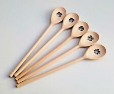 cuillère en bois Lot de 5 AVEC QUATRE FEUILLES Trèfle Décoration, hêtre 30 cm