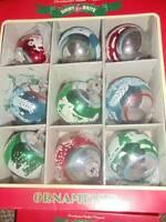 Christopher Radko Shiny Brite Ornaments Christmas Flocked Set 9 NIB