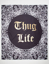 "THUG LIFE Tapestry 80"" x 90"" Wall Decor College Mandala Hip Hop Tupac New"