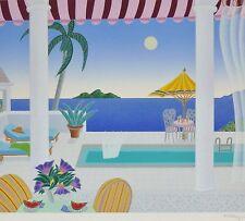 "THOMAS McKNIGHT ""Caribbean Pool""  Four Seas HAND SIGNED Original Serigraph 1990"