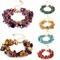 Birthstone Bangle Natural Stone Crystal Bead Chip Bracelets Chain Female Women