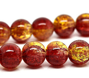15 Crackle Glass Beads 10mm - Two tone Red and Gold BD052