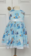 NEW HAND CRAFTED BLUE CINDERELLA SUMMER SUN DRESS 2 YEARS ROMANY TRADITIONAL