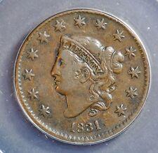 1831 1C Coronet Head Cent **VF30**