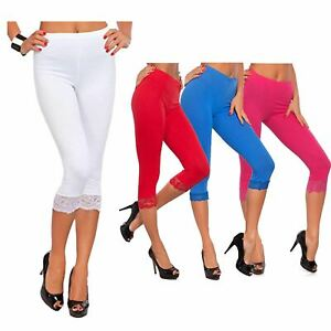 Ladies Stylish  3/4 Lace Trim Stretchy Crop Capri Yoga Gym Leggings 12-30