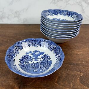 """Set of 8 - J & G Meakin Blue Transfer Romantic England Coupe Cereal Bowls 6.5"""""""