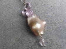 pendant silver 925,1 pearl baroque, 4 amethyst