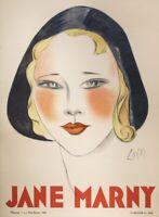Original Art Deco Poster - Jean Don - Jane Marny - Actress - Paris France - 1930