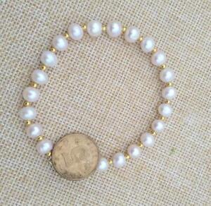 "Genuine Japanese Akoya Natural Round White Pearl Bracelet 7.5-8"" 14k Gold P"